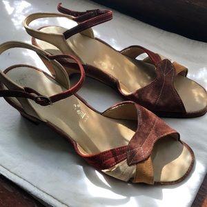 Vintage suede hush puppy ankle strap kitten heels
